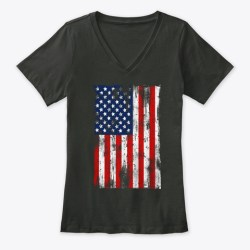 American Flag Grunge Style Black T-Shirt Front