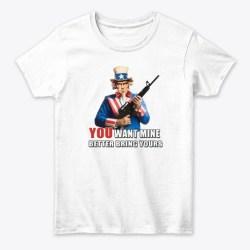 Uncle Sam & Molon Labe  White T-Shirt Front
