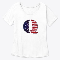 American Flag Q Patch (Qanon) White  T-Shirt Front