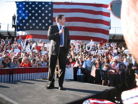 Rubio looks on to the crowd at the Swamp. Photo by Eva Dorn
