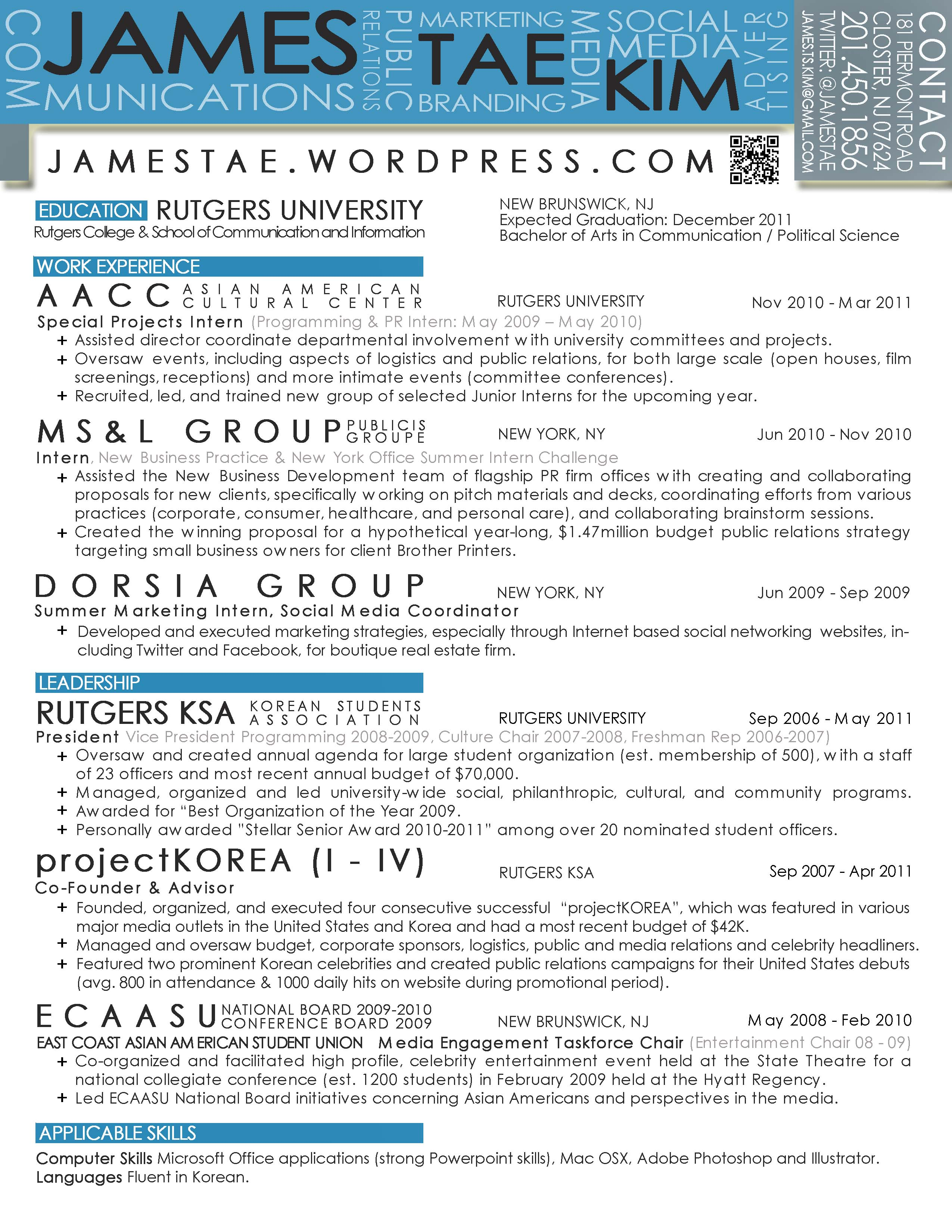 resume amp samples of my work james t kim