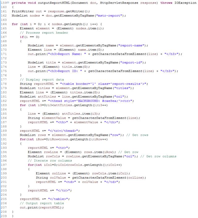 outputReportHTML Function