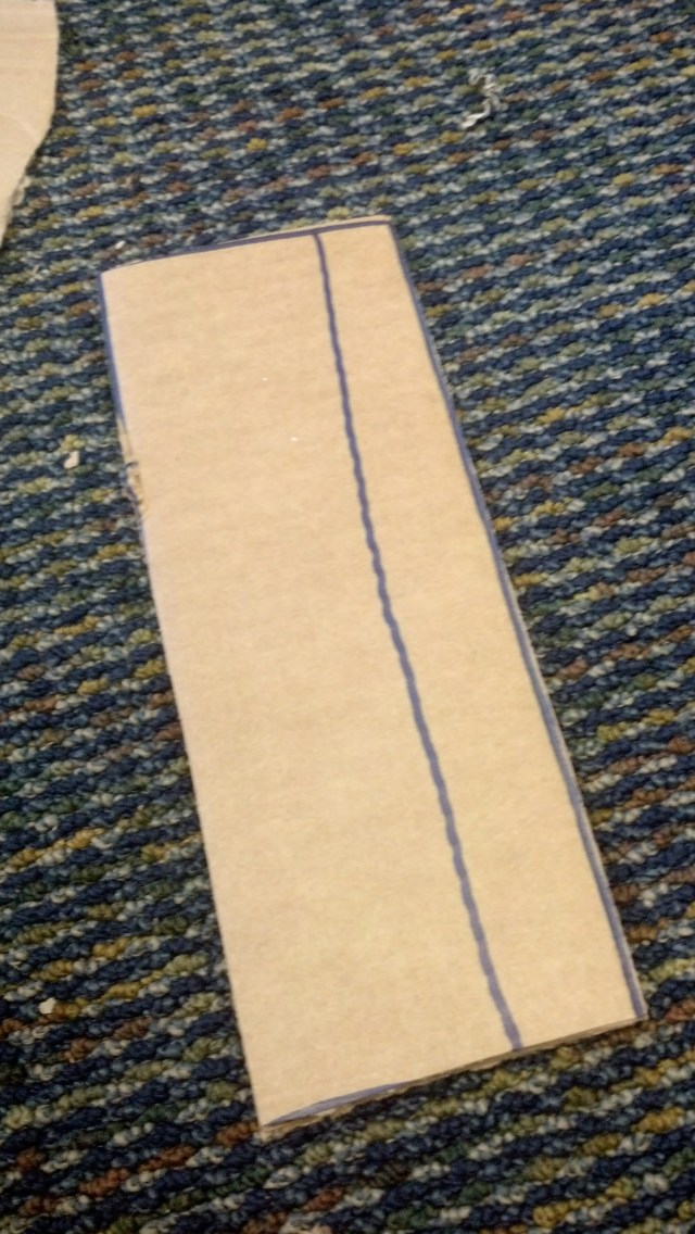 Cut lines showing where a future cardboard component will come from.