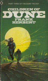 The cover for Children of Dune shows beautiful desert with a green tint, a free young woman and a darker, brooding man.