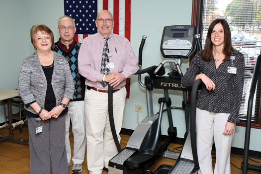 From left, physical therapists at WCA Hospital, Deborah Castiglione, supervising physical therapist; Michael Rabent, physical therapist, Daniel Johnson, physical therapist, director of rehabilitation services; Elizabeth Ciancio, senior physical therapist; will assess residents on their risk for falling at the Falls Prevention Seminar, Wednesday, October 30th, WCA Auditorium, at 5:30 p.m.