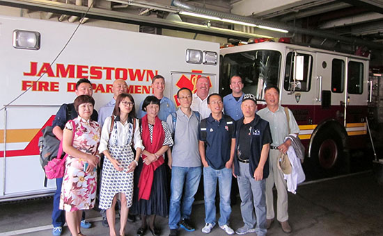 Members of the Jamestown Fire Department gave representatives of the Chengdu, China YMCA delegation a tour of their station during a recent visit hosted by the  Jamestown YMCA and Jamestown Community College.