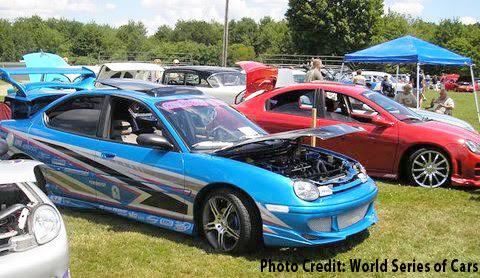 Polish, color and chrome sparkle on hundreds of prize winning cars at the World series of Cars.