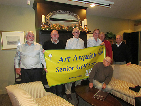 (L to R): Jim Rissel, Harry Trippett, Pat Hepinger, Randy Carlson, Jim Fincher and Art Asquith.  Seated is Tuck Underwood.