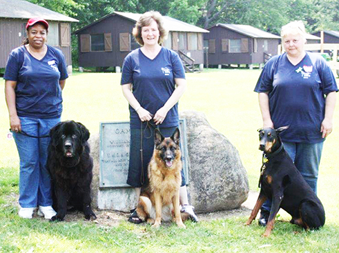 Camp Hope pet visit volunteers ready for the June 24-26 program being held at no charge for children age 7-13. (L to R): are Michelle Morris with Baby, Pam Atwater with Kora, and Rebecca Iannone-Benton with Raven.