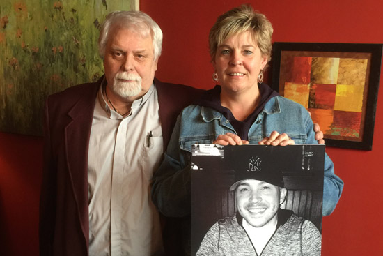 Rick Huber, Executive Director of Mental Health Association in Chautauqua County with                             Kim Carlson, mother of recently deceased son Alex Faulk.