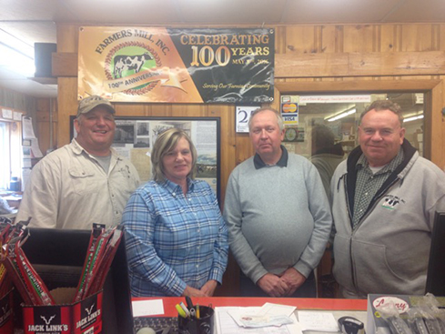Farmers Mill associates Dale White, Carol Wilkinson, Ron Meeder and Barry Markham