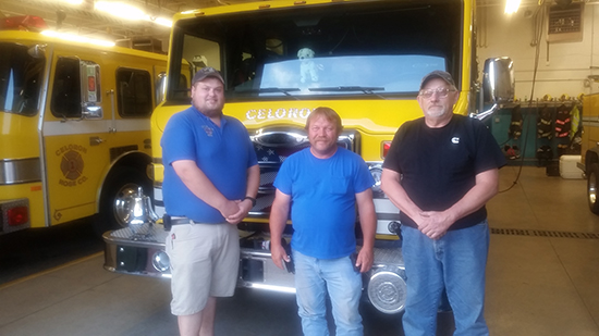 (L to R) Celoron, New York Volunteer Fire Depasrtment: Second Assistant Chief, Jordan Bailey; First Assistant Chief, Terry Schrecengost' Chief, Tim Nelson.