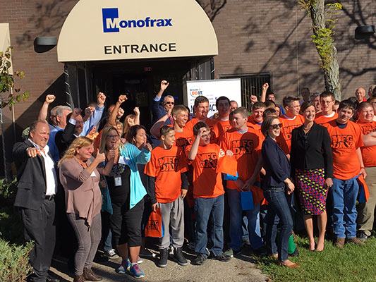 Students from Randolph join elected officials, chamber representatives and Monofrax workers at the kick off celebration for National Manufacturing Day in Chautauqua county.