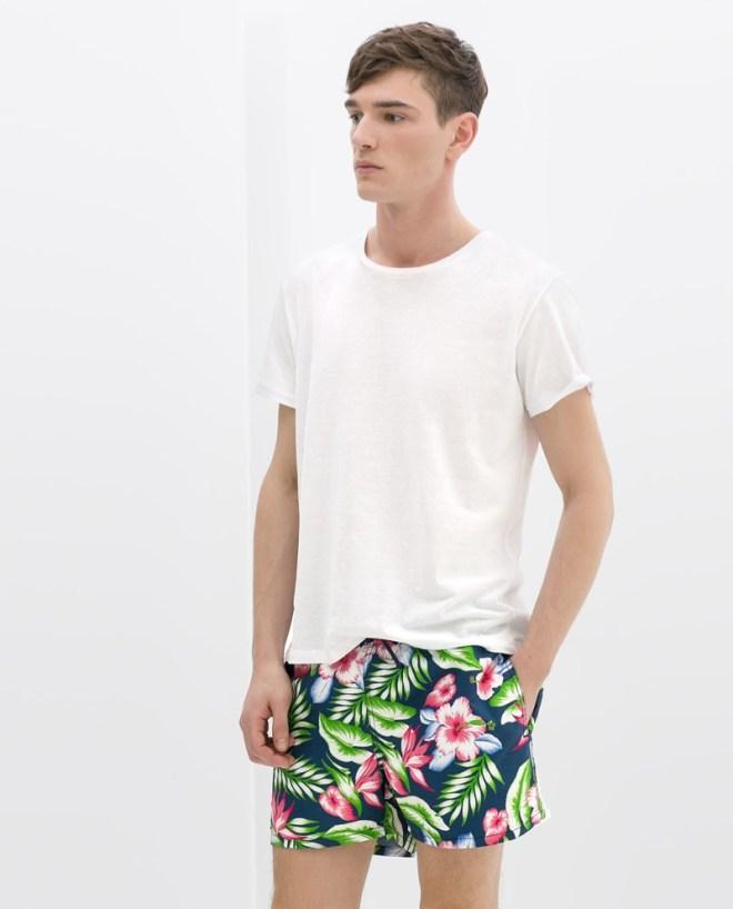 Zara Menswear S/S14 Swimwear Lookbook plain white top t shirt floral palm print swim shorts