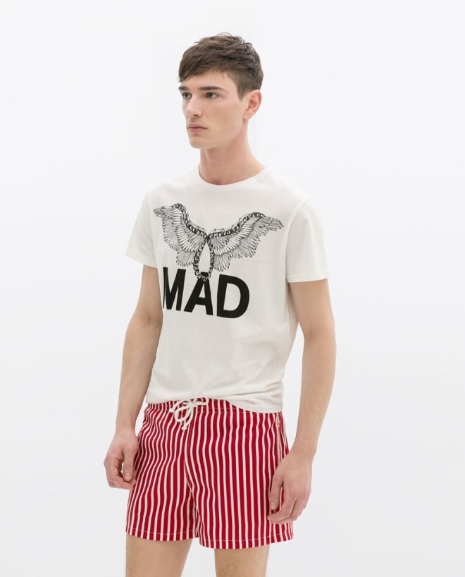 Zara Menswear S/S14 Swimwear Lookbook mad print shirt white and blue nautical print swimshorts