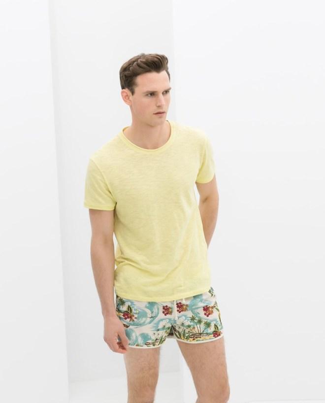 Zara Menswear S/S14 Swimwear Lookbook yellow basic t shirt top floral hawaiian swimshorts