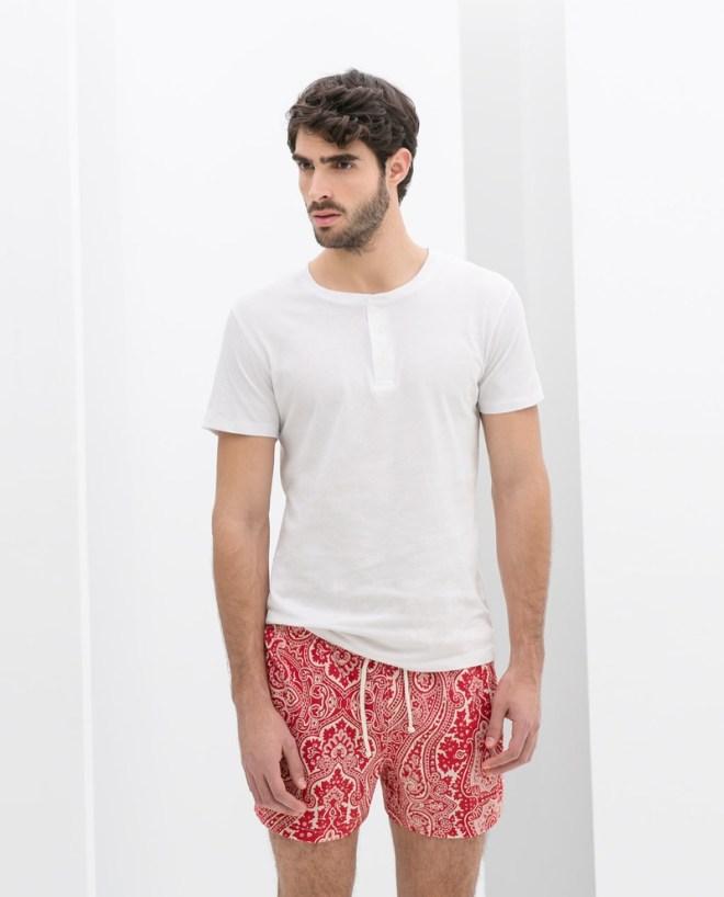 Zara Menswear S/S14 Swimwear Lookbook plain white basic t shirt red floral print paisley shorts