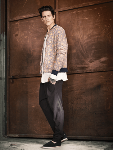 H&M S/S14 Menswsear Lookbook geometric print bomber white shirt trousers