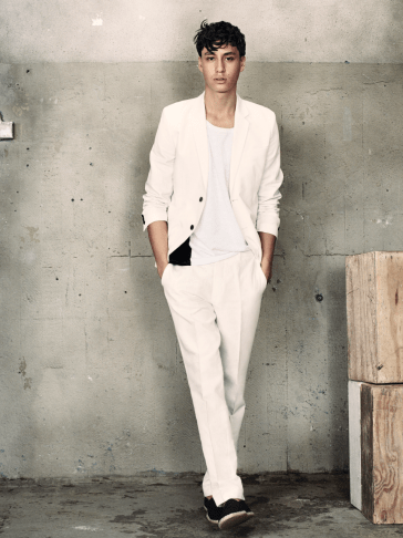H&M S/S14 Menswsear Lookbook H&M H&M Man Trend H&M Trend Linen Suit White Summer Spring Fashion wiwt ootd lookbook male model