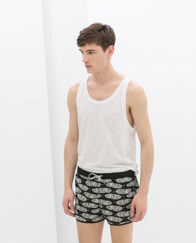 Zara Menswear S/S14 Swimwear Lookbook white basic vest black leaf print siwmwear swimshorts