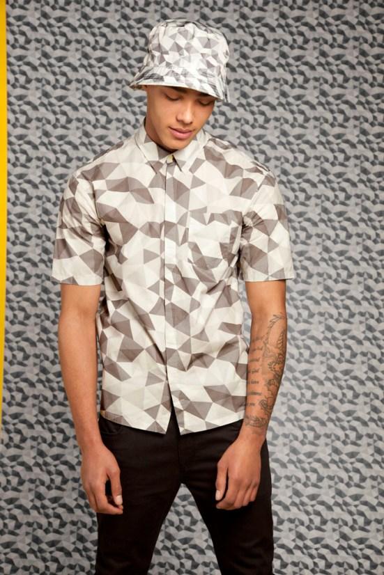 ASOS Black S/S14 Lookbook Geometric print shirt hat black panel detail jeans