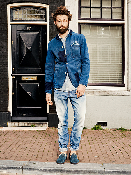 Scotch & Soda S/S14 Amsterdam Blauw Denim Collection Denim Patchwork Blazer Bleached washed out jeans Blue Loafers