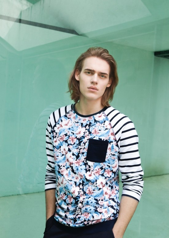Bershka 'April' Menswear S/S14 Lookbook Update.  striped nautical jumper flower print pattern style wiwt ootd