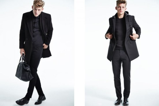River Island A/W14 Menswear Lookbook all black everything layering coats bag jackets style fashion leather