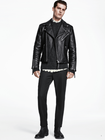 H&M Man Trend A/W14 Lookbook, 'All Black Everything'. leather biker jacket style fashion lookbook collection