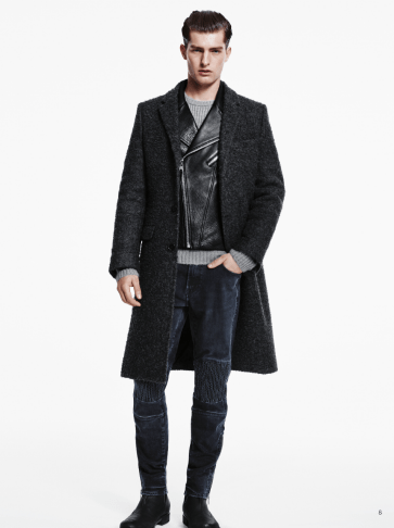 H&M Man Trend A/W14 Lookbook, 'All Black Everything'. leather jacket wool blend coat