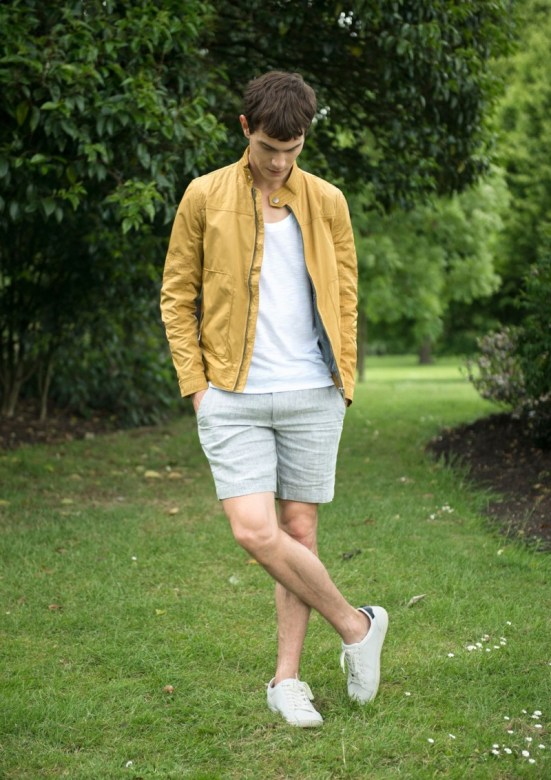 Zara 'Play' Menswear S/S14 Lookbook mustard bomber jacket linen top plaid shorts trainers sneakers
