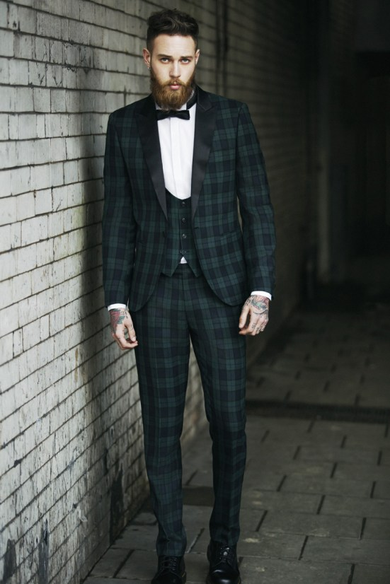 Moss Bross Debut Their 'Moss London' AW14 Menswear Collection tattooed bearded male model billy huxley tweed tartan suiting tailoring menswear mensfashion lookbook collection style fashion