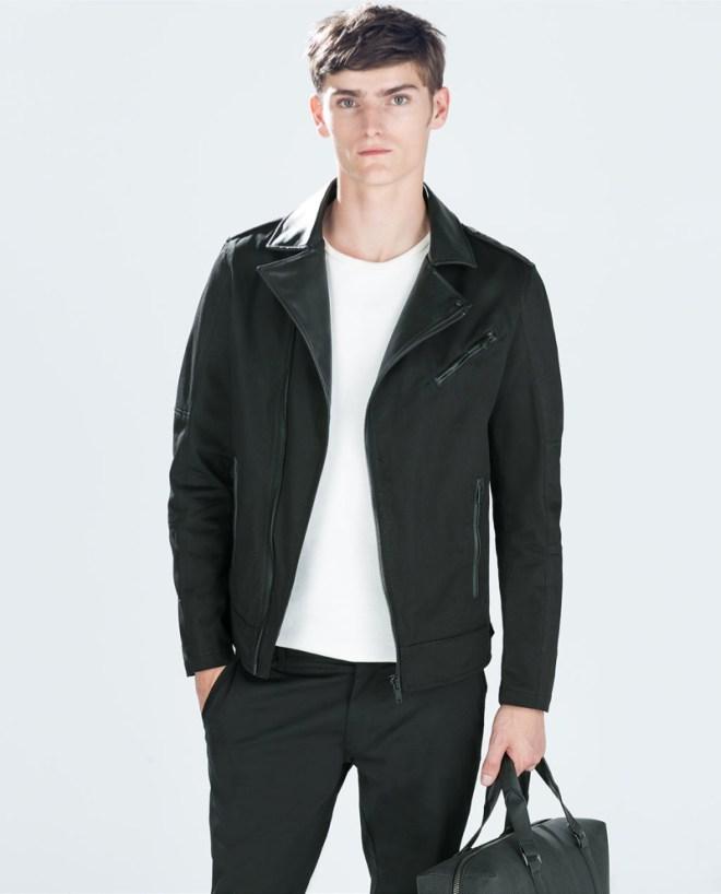 Zara Pre Fall 2014 Menswear Lookbook Black leather jacket white top menswear mensfashion
