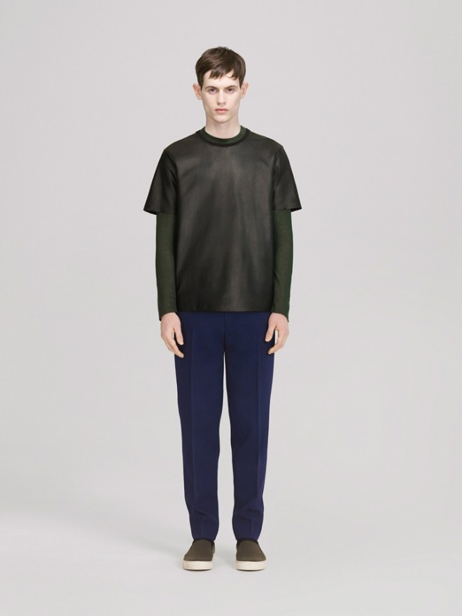 COS A/W14 Menswear Lookbook leather panel top t shirt green long sleeve top navy blue formal tailored trousers