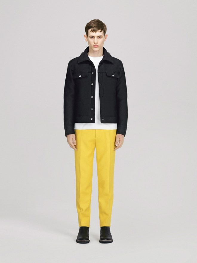 COS A/W14 Menswear Lookbook yellow trousers dark blue over dyed denim jacket