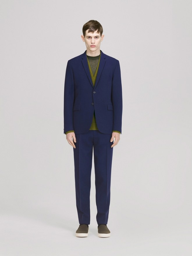 COS A/W14 Menswear Lookbook electric blue suit tailoring lime green cardigan top jumper knitwear