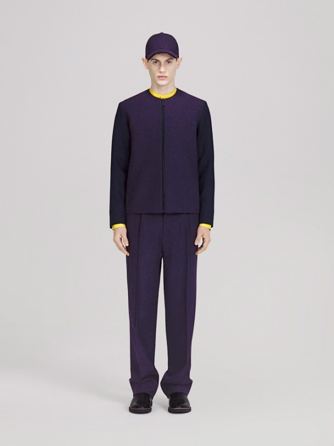 COS A/W14 Menswear Lookbook royal blue zip up bomber jacket pleated trousers
