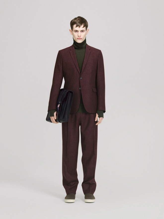 COS A/W14 Menswear Lookbook plum two piece suit green funnel neck rollneck