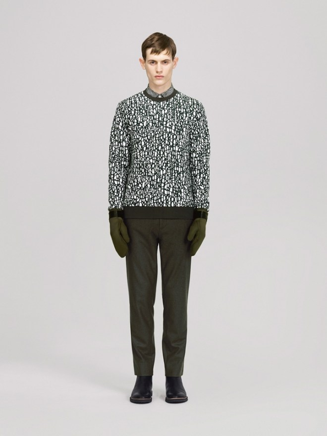 COS A/W14 Menswear Lookbook graphic print sweater green gloves navy leather