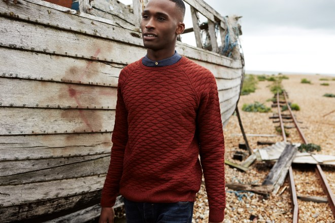 River Island Holloway Road A/W14 Menswear Lookbook brown quilted knitwear