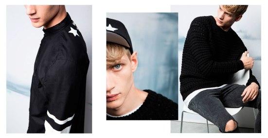 Bershka 'September' Menswear Lookbook A/W14 all black denim knitwear jeans skinny jeans cap stars stripes