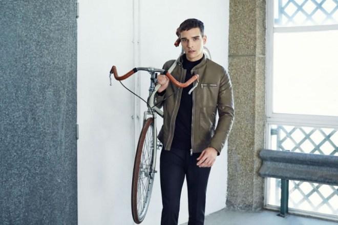 Zara A/W14 Menswear Lookbook Update leather bomber jacket bike