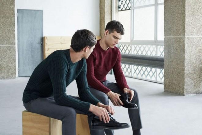 Zara A/W14 Menswear Lookbook Update mens knitwear jumper hoodie sweater cable knit texture leather