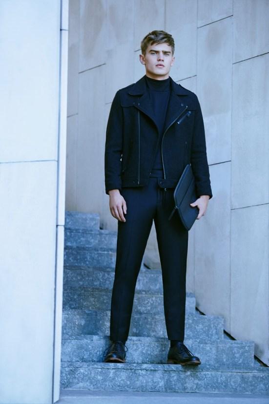 HE By Mango A/W14 November Lookbook Update. style fashion lookbook outerwear jacket menswear all black biker jacket leather zara spanish fashion streetstyle look wow