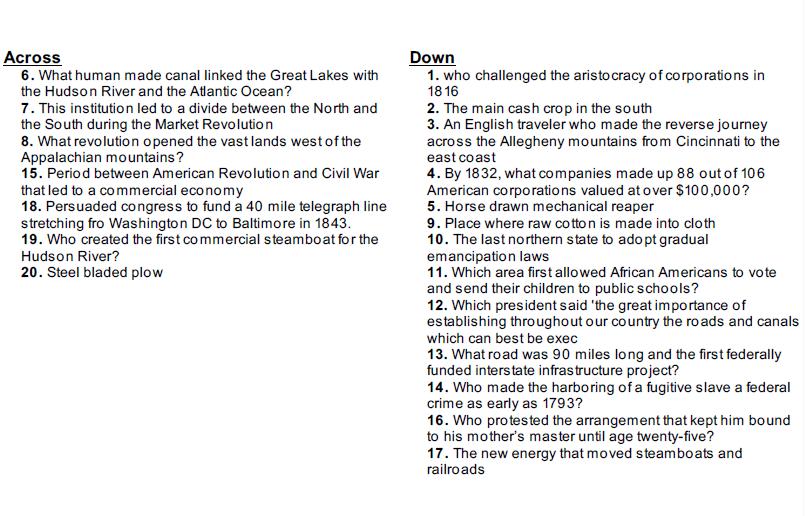 CW 1 Clues