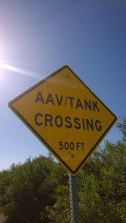 Not your usual street sign. AAV = Assault Amphibious Vehicle