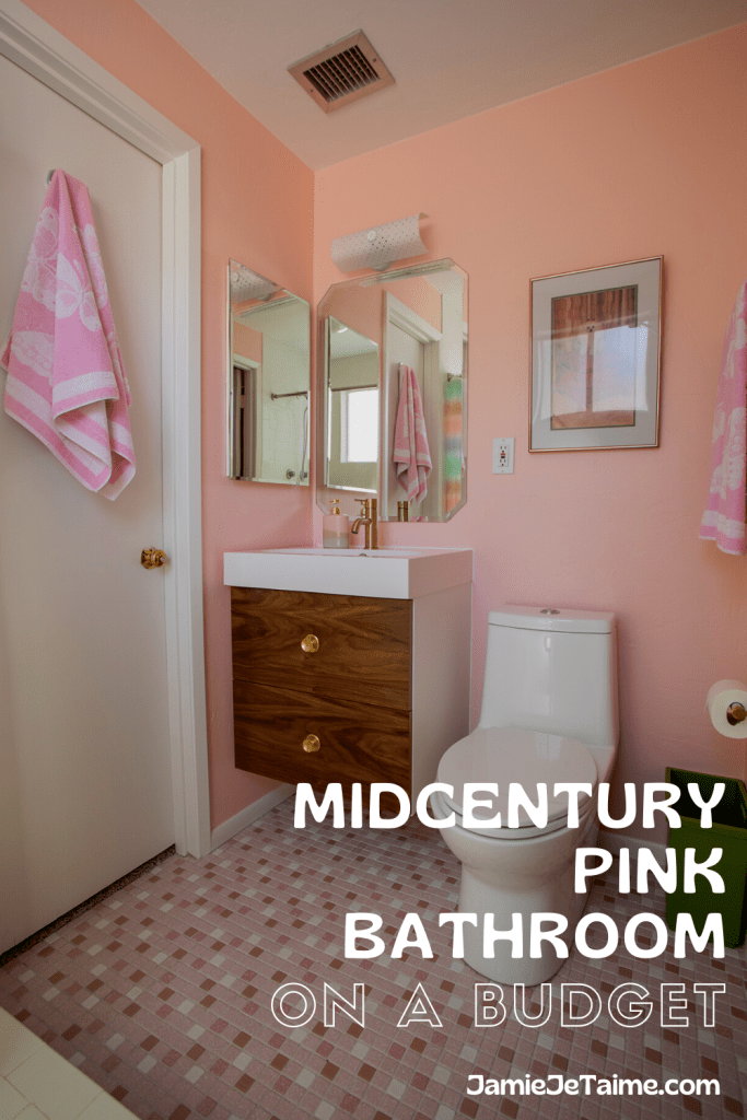 Midcentury Pink Bathroom on a Budget