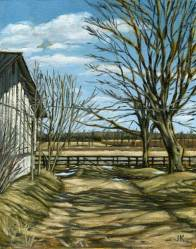 'Ontario Farm, Early Spring - Study' (2011) by Jamie Kapitain. Oil on canvas board, 8x10 inches.