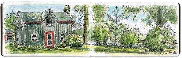 'Orton, Ontario Farm' by Jamie Kapitain. Ink and watercolor.