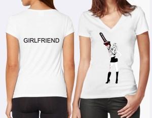 chainsaw women's v-neck tshirt in white